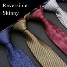 Skinny Tie 11 Color Reversible Solid Checked Paisley Red Blue Brown Gray Purple Mens Ties Neckties 100% Silk Free Shipping New