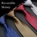 Skinny Tie 11 Cor Sólida Reversível Verificado Paisley Azul Vermelho Cinza marrom Roxo Laços Dos Homens Gravatas 100% Seda Frete Grátis nova
