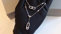 Hot brand jewelry one stone move necklace double layer chain one cz moving pendant choker 925 sterling silver france jewelry