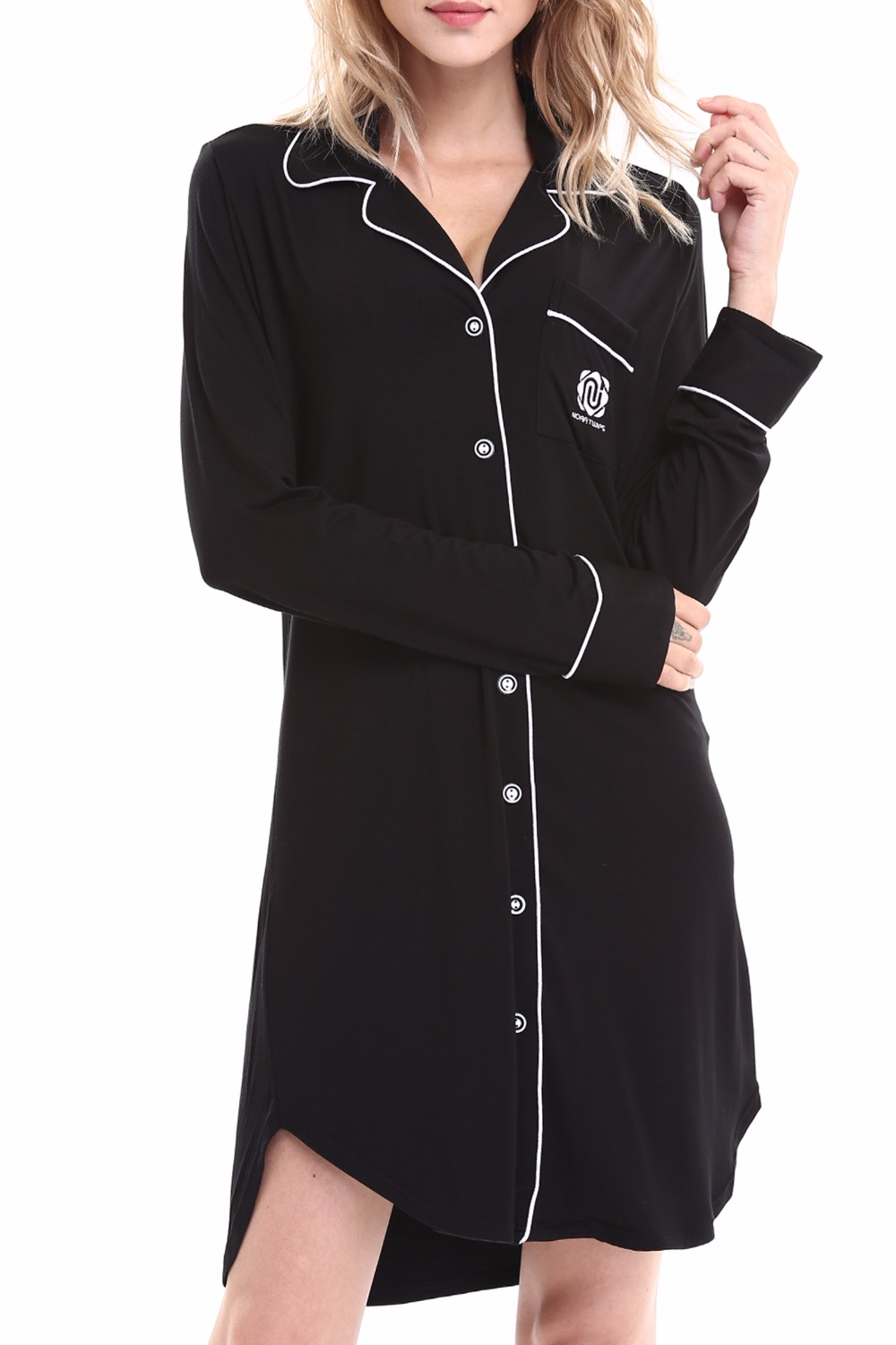 Online buy wholesale black nightgown from china black for Women s flannel sleep shirt