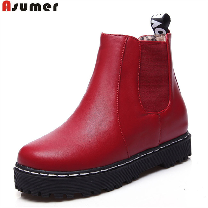 ФОТО ASUMER plus size 34-43 popular pu soft leather women ankle boots simple slip on autumn winter height increasing boots