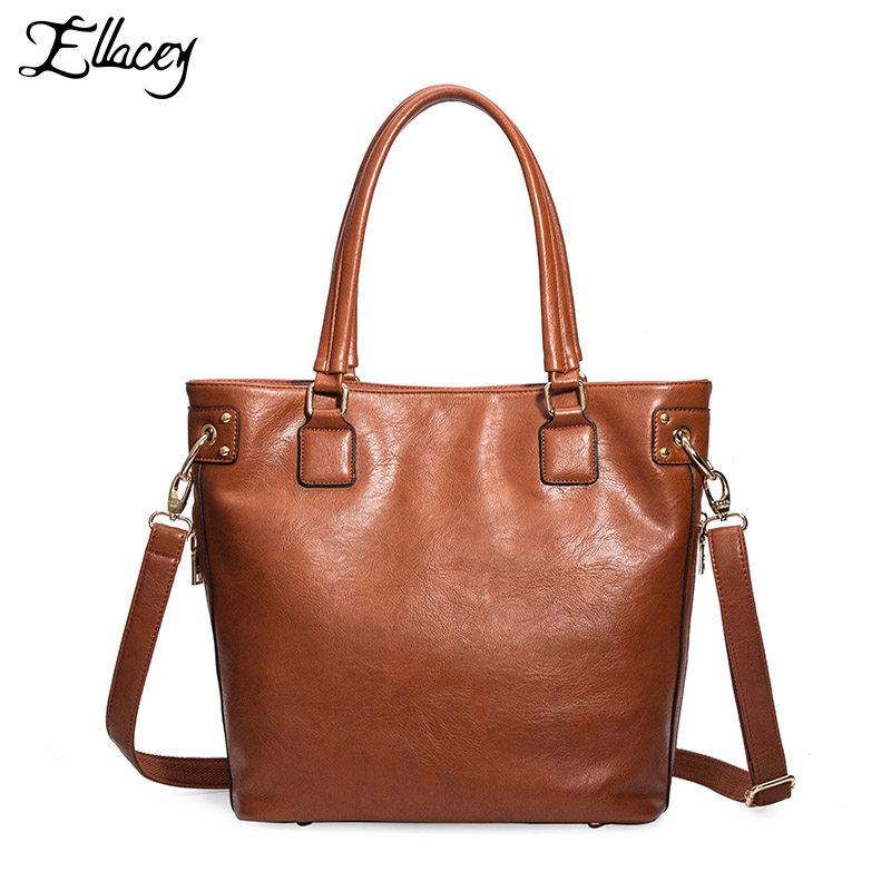 2016 Ellacey Brand Handbags Women Shoulder Big Bag PU Leather Casual Totes Luxury Designer Women Messenger Bags Bolsa Feminina designer women handbags black bucket shoulder bags pu leather ladies cross body bags shopping bag bolsa feminina women s totes
