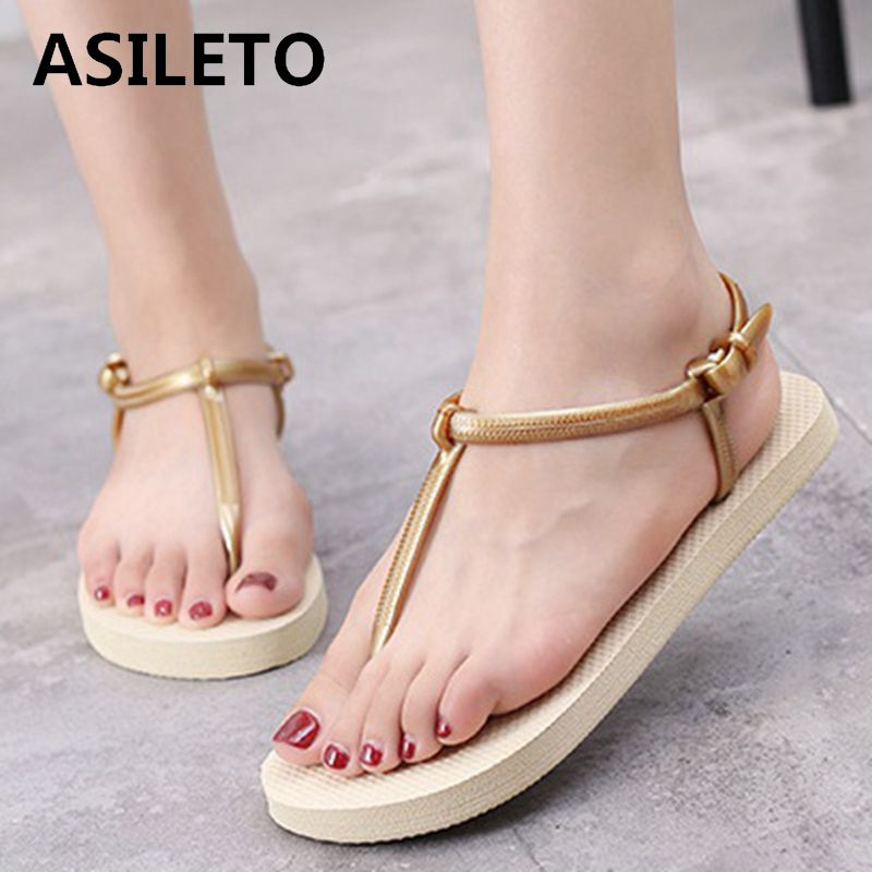 ASILETO 2019 Women Sandals Summer New EVA Casual Soft Slip On Beach Jelly Shoes Woman Flat Sandals flip flops sandalia gladiator