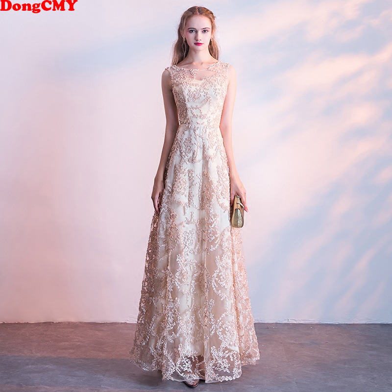 New Arrival 2019 Long Champagne Color Prom Dresses Vestidos Longo Party Robe De Soiree Gown