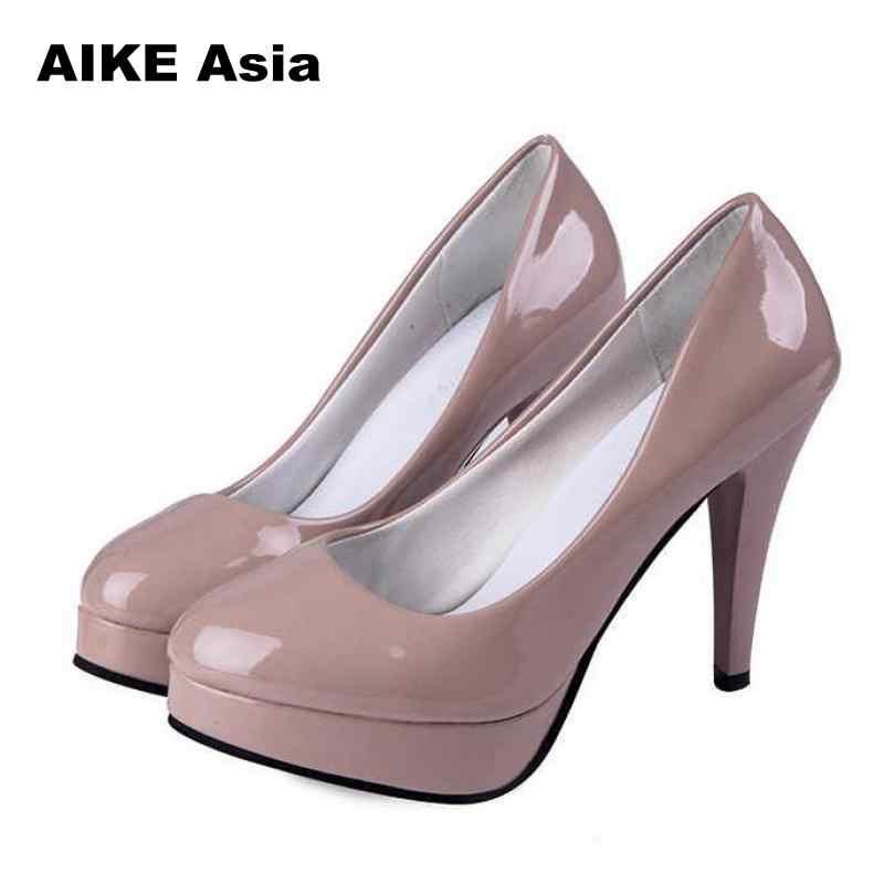 2c63299512 Women Pumps Fashion Classic Patent Leather High Heels Shoes Nude Sharp Head  Paltform Wedding Women Dress Shoes Plus Size 34-42