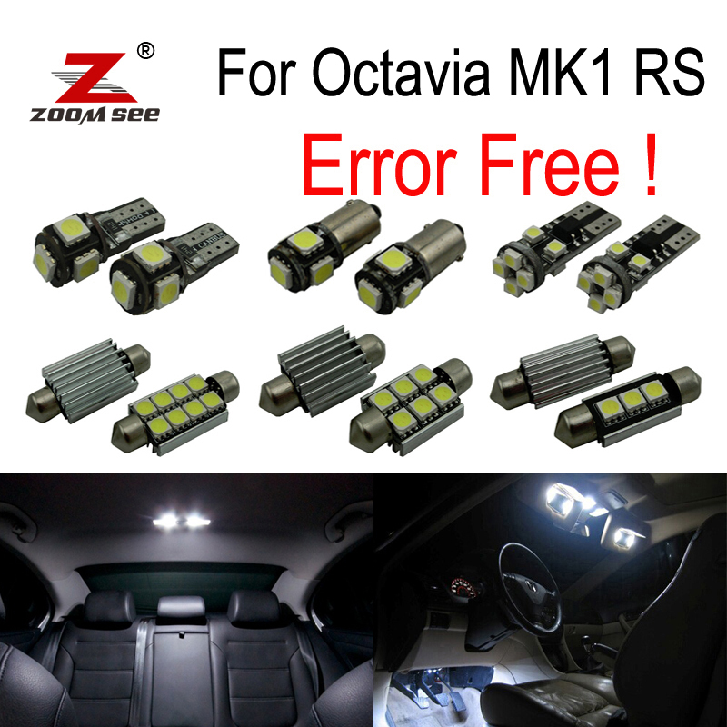 ZOOMSEEZ 10pcs license plate lamp LED bulb Interior dome Light Kit for Skoda Octavia MK 1 MKI RS 1U2 (1996-2004)