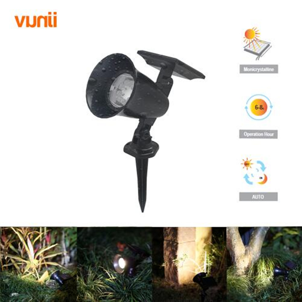 ФОТО Yunji Waterproof IP65 9Led Spotlight Solar LED Lamp Outdoor Landscape Solar Spot Light Yard Path Spot decor Light Lawn Lamp