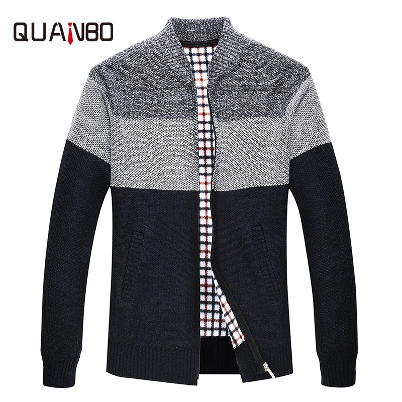 QUANBO 2018 New Arrival Youth Men's Striped Slim Fit Knitted Cardigan Male Casual Fashion Zipper Sweaters Brand Clothing