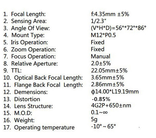 [Factory Direct]4.35MM Lens 1/2.3 Inch 10MP IR 72D HFOV No Distortion for Gopro DJI Phantom Drones SJCAM Camera cctv lens