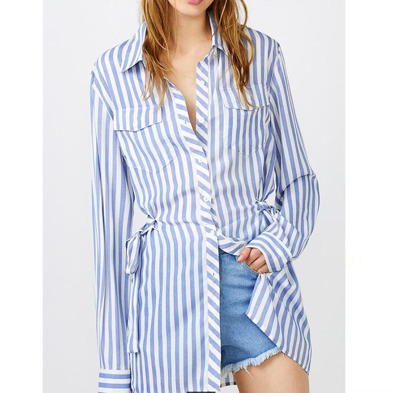 Online Get Cheap Blue and White Striped Shirt Womens -Aliexpress ...