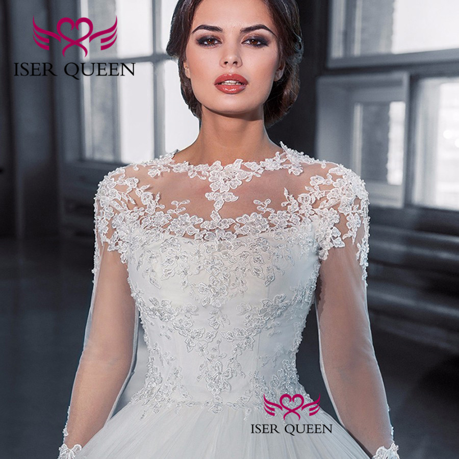Illusion Long Sleeves with Embroidery Appliques Crystal and Beading Bridal Gown  Robe De Mariee Lustrous Satin Button w0049