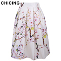 CHICING 2016 Summer Women Skirt Vintage Peach Blossom Floral Print High Waist Ball Gown Pleated Midi Skater Skirts Saias A148012