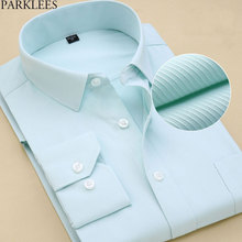 Men's Long Sleeve Standard-fit Solid Basic Dress Shirt Cotton High-quality Formal Social Work Office Shirt Men Chemise Homme 8XL