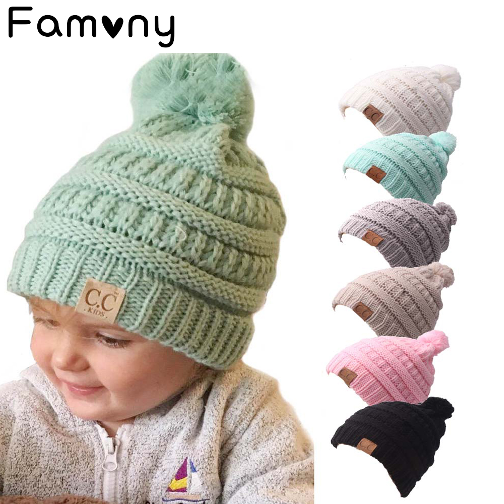 Winter Baby Hat For Kids Pom Pom Hat Baby Winter Crochet Beanie Girl ... f137c93234a
