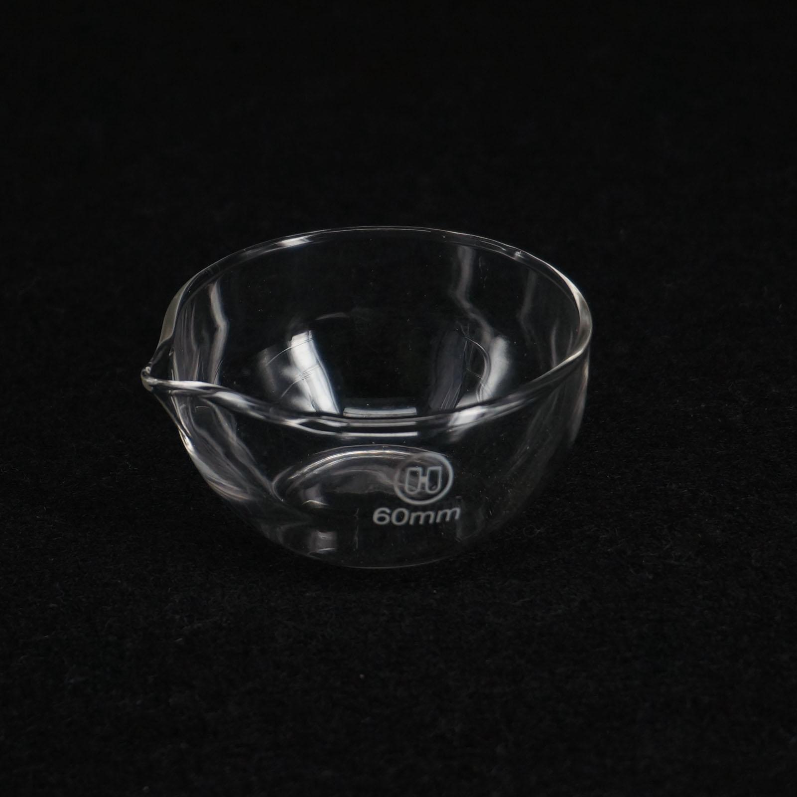60mm Diameter Lab Glass Evaporating Dish Flat Bottom With Spout For Chemistry