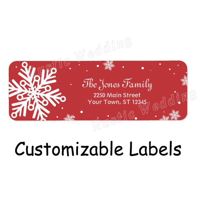 snowflake return address label red merry kissmas christmas goodie