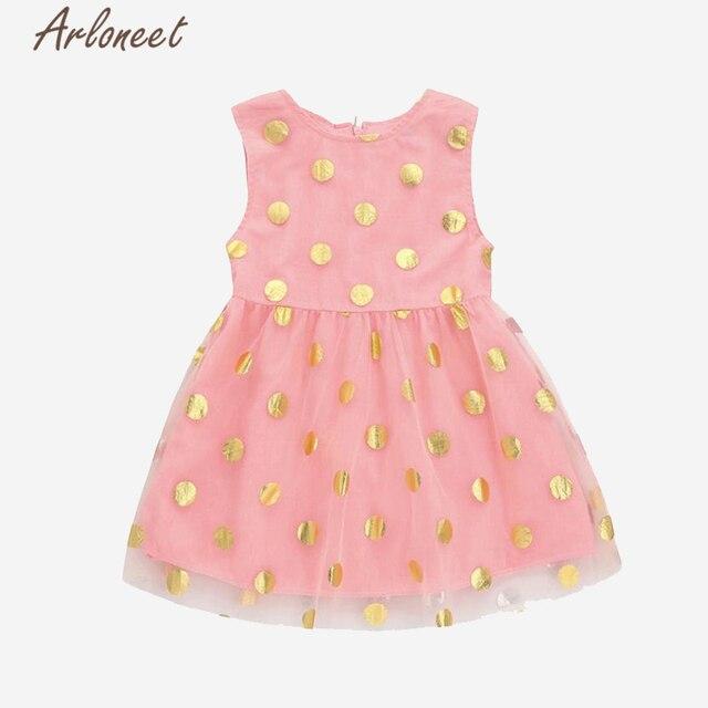 Arloneet 2018 Baby Girls Dress Dot Tutu Zip Sleeveless Dresses Girls Summer  Sequins Princess Clothing l0130 e7ac8d2650d5