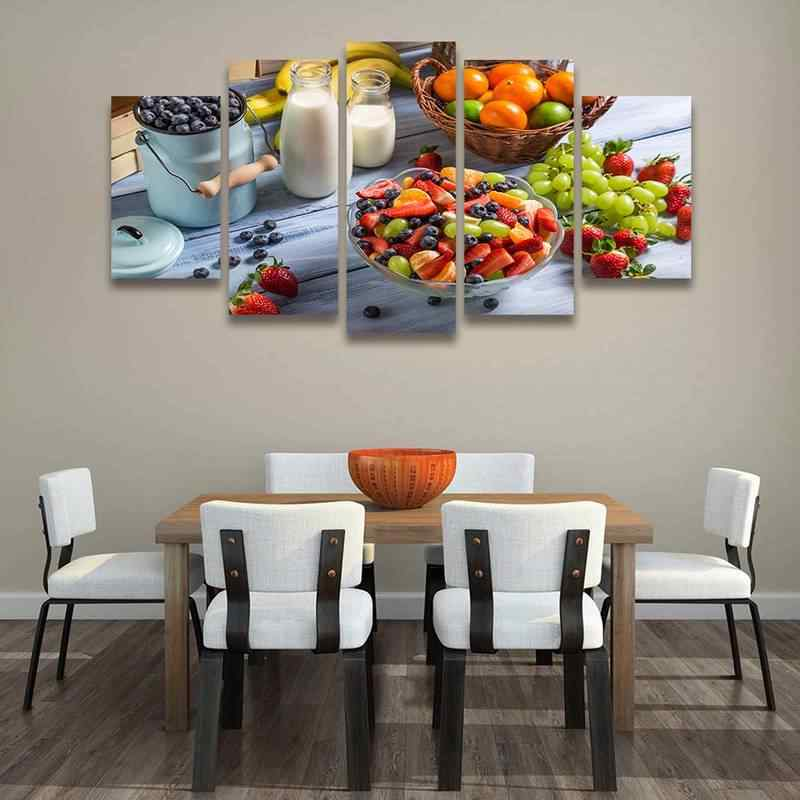 5 Piece Prints and Posters Fruit Vegetable Still Life Decorative Pictures Canvas Prints Dining Room Kitchen Wall Art Home Decor