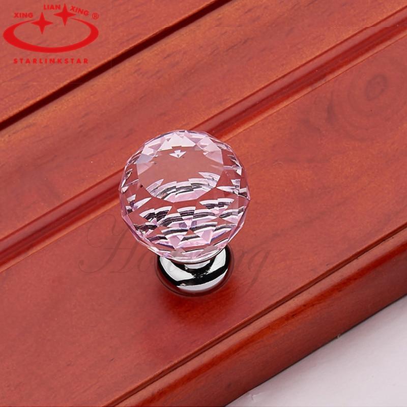 European Style Furniture Shake Handshandle Wardrobe Drawer Cupboard Wine Cabinet Hand Grip H5091E Pink Crystal Handle Knob(China (Mainland))