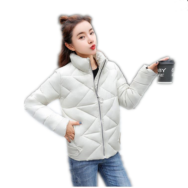 2018 New Elegant Autumn Winter Women Short   Parkas   Female Down Cotton Jacket Long Sleeve Stand-Collar Winter Jackets Mujer CQ2406