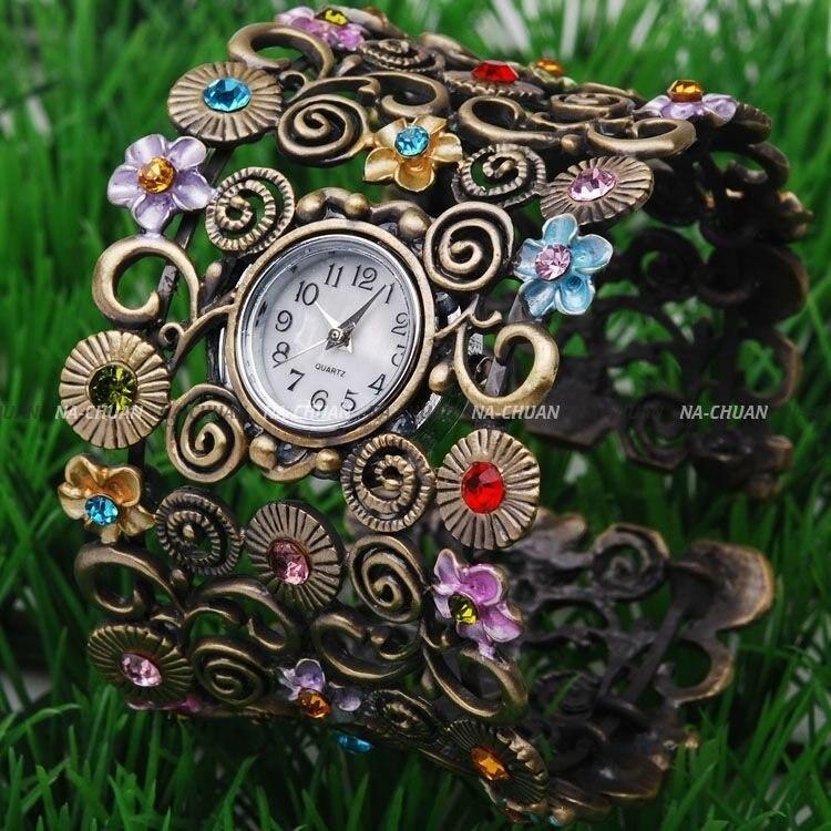 Hot Sales Vintage Bronze bangle cuff watch women ladi