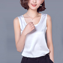 5d641dea04b Solid 14colors Summer Tank Tops All-match Casual Chiffon satin silk Vest  Sleeveless Female shirts