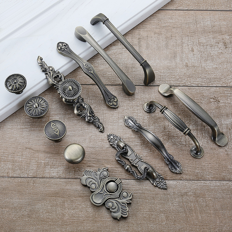Antique Bronze Cabinet Handles And Knobs Metal Drawer Pulls Vintage Kitchen Cupboard Handle And Knobs Furniture Handles Hardware