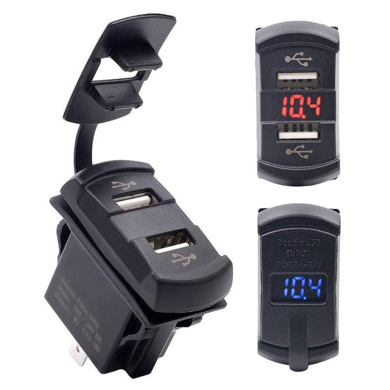 Étanche USB Adaptateur De Charge 12-24 V LED 4.2A Dual USB De Voiture-chargeur Auto Voltmètre Mètre de Tension Jauge Moto ATV Accessoires