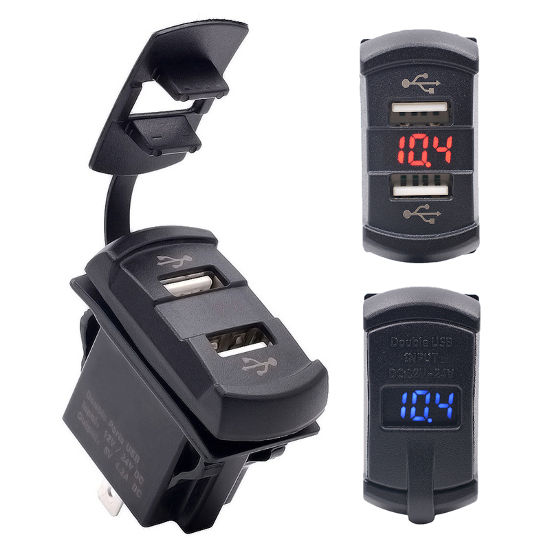 Waterproof USB Charging Adapter 12-24V LED 4.2A Dual USB Car-charger Auto Voltmeter Voltage Meter Gauge Moto ATV Accessories 3 in 1 multifunctional car digital voltmeter usb car charger led battery dc voltmeter thermometer temperature meter sensor