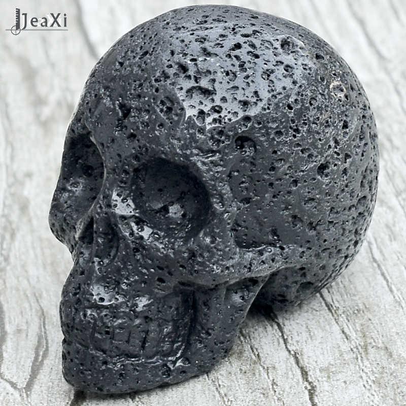 見事な2インチ黒溶岩スカル像天然火山石スカル置物手彫りクリスタルクォーツ骨風水ヒーリング