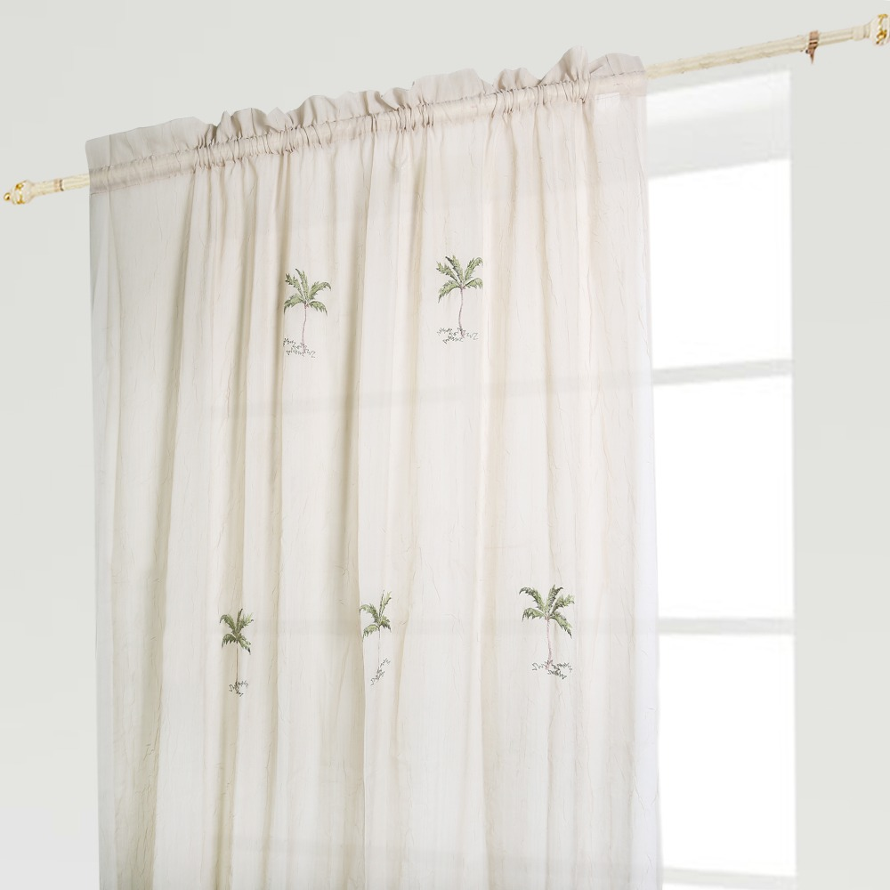 Aliexpress Buy 1 PCS Champagne Curtain Pole Top Pleated Window Coconut Tree Embroidery For Living Room 53846 135215cm From Reliable