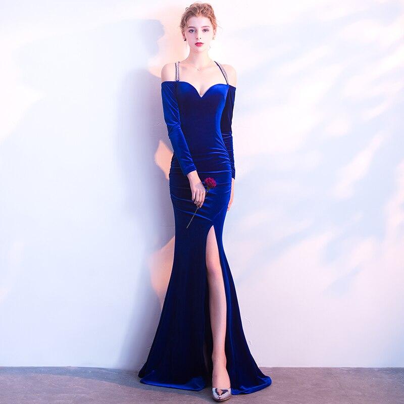 ... G214 Partito Banchetto Senza Shoulderless Aderente Sera Sexy Sirena  Vestito blue Lunga Manica Abiti Della Sposa ... 2a069f4d087