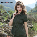 FreeArmy 2017 Spring Shirts Women Army Green Turn-Down Short Sleeve Single-Breasted Blouses Lady Fashion Slim Tops Gs-8398A