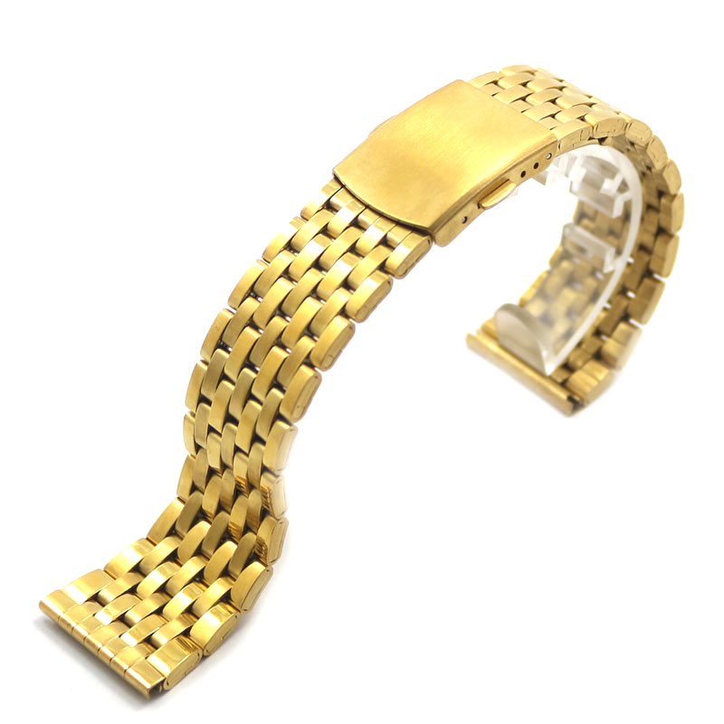 Watch Band 18/20/22mm Men Women Wrist Strap Stainless Steel Fold Over Clasp Buckle Gold 2 Spring Bars High Quality Solid Link eache silicone watch band strap replacement watch band can fit for swatch 17mm 19mm men women