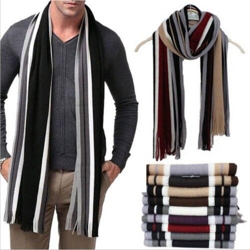 Hot Men Cashmere   Scarf   Winter Warm Soft Fringe Striped Tassel Long Shawl   Wrap   Accessories