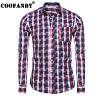 COOFANDY 2017 Newest Male Clothes Men Shirts Long Sleeve Plaid Slim Casual Button Down Shirt