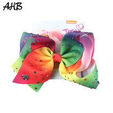AHB Hot 7 Inch Hair Barrettes for Girls Bows Clips Rhinestone Unicorn Party Hairgrips Hairpin Cartoon Kids Accessories