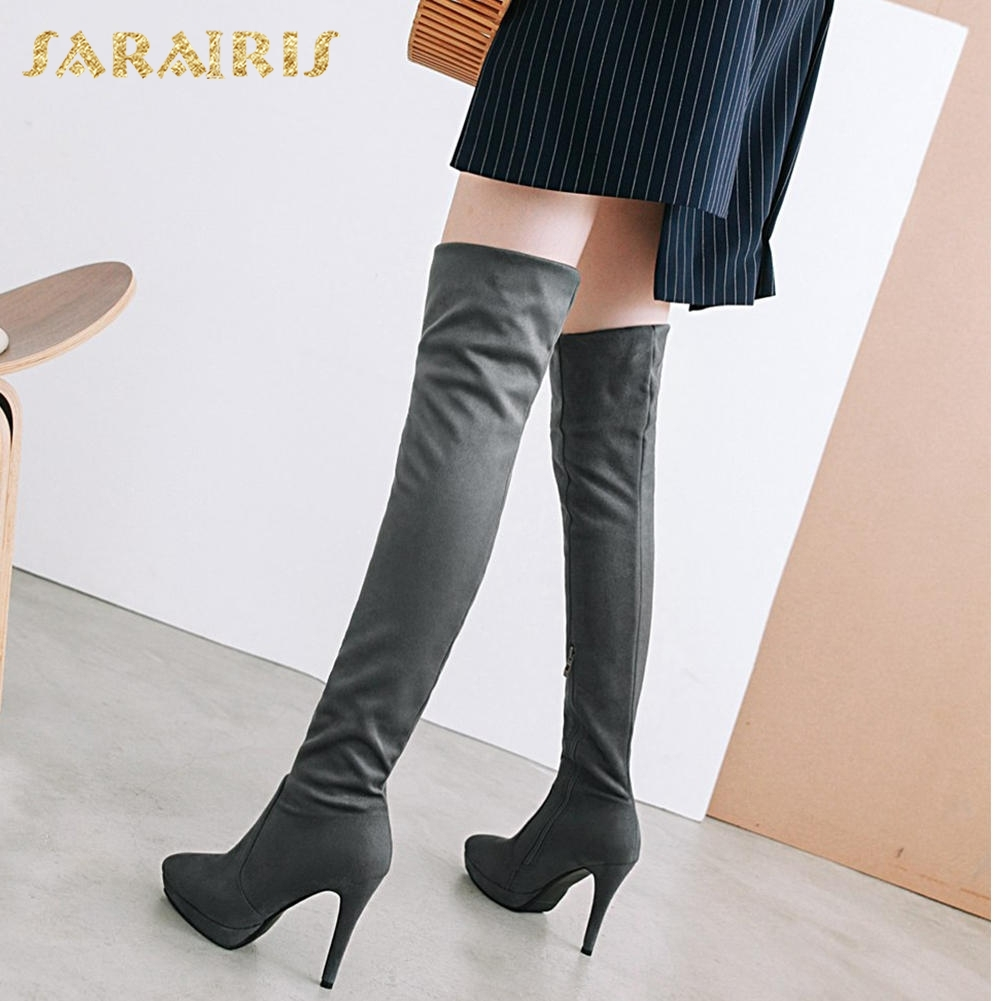 SARAIRIS new Plus Size 32-43 Sexy Thin High Heels Party Sock Boots Woman Shoes Over Knee Boots Female Platform Shoes Woman все цены