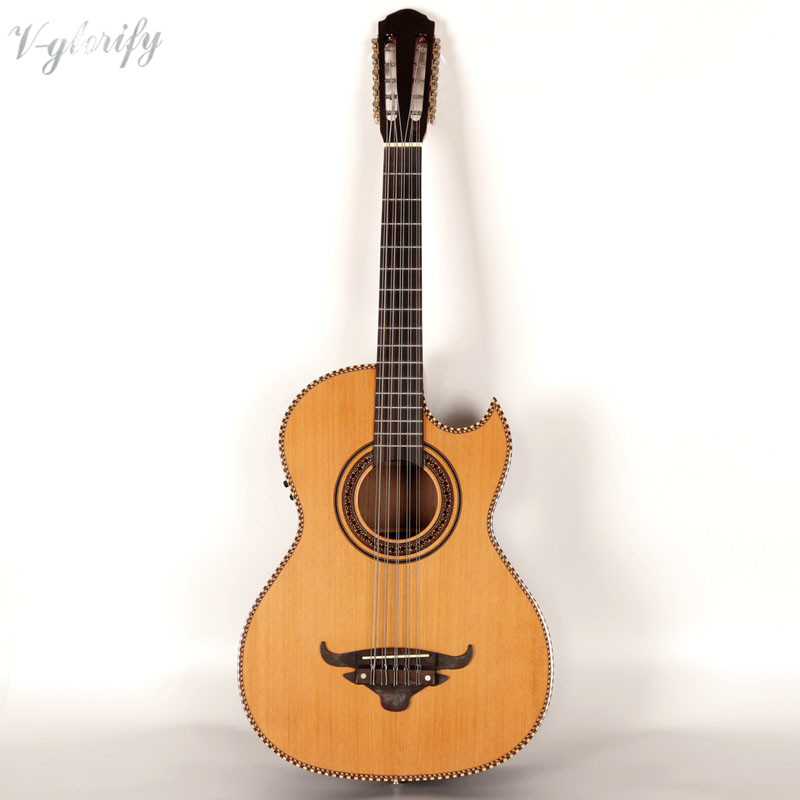 39inch 10 string electric acoustic guitar with tuner function EQ natural color39inch 10 string electric acoustic guitar with tuner function EQ natural color