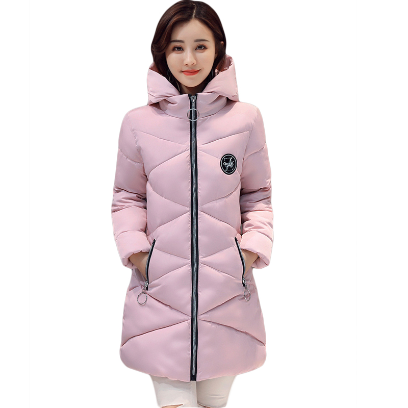 New 2017 Winter Cotton Coat Women Slim Outwear Medium-long Padded Jacket Thick Hooded Wadded Warm Cotton Parkas Plus Size CM1746 new winter women jacket medium long thicken plus size outwear hooded wadded coat slim parka cotton padded jacket overcoat cm1039