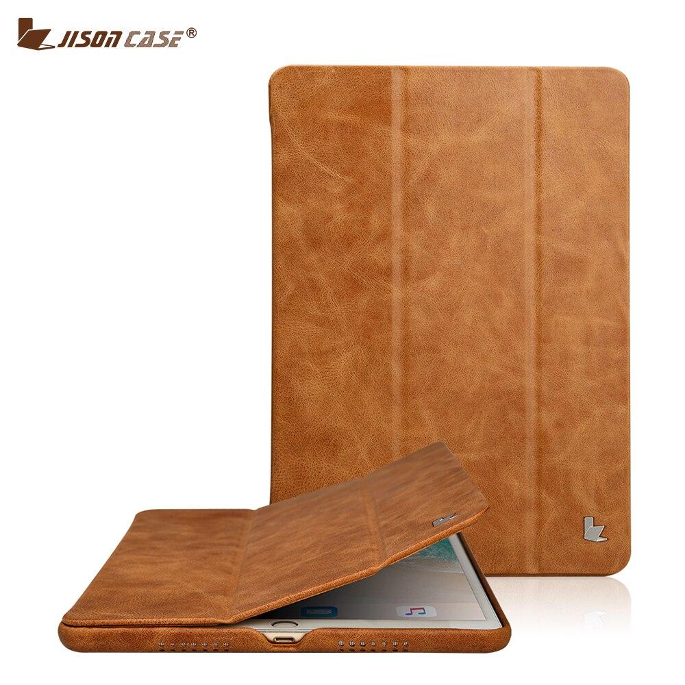 Jisoncase Cuoio Genuino Smart Cover per iPad Pro 10.5 2017 Caso di Cuoio di Lusso Coque Caso Tablet per iPad 10.5 pollici copertura Capa