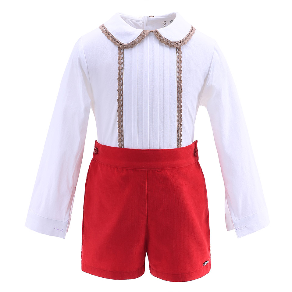 b2cc05c43 Cutestyles Boy Summer Boutique Outfit White Shirt With Hem Collar Red  Shorts 2 8Y Kid Clothing Set Wholesale Boy Formal Clothes-in Clothing Sets  from Mother ...