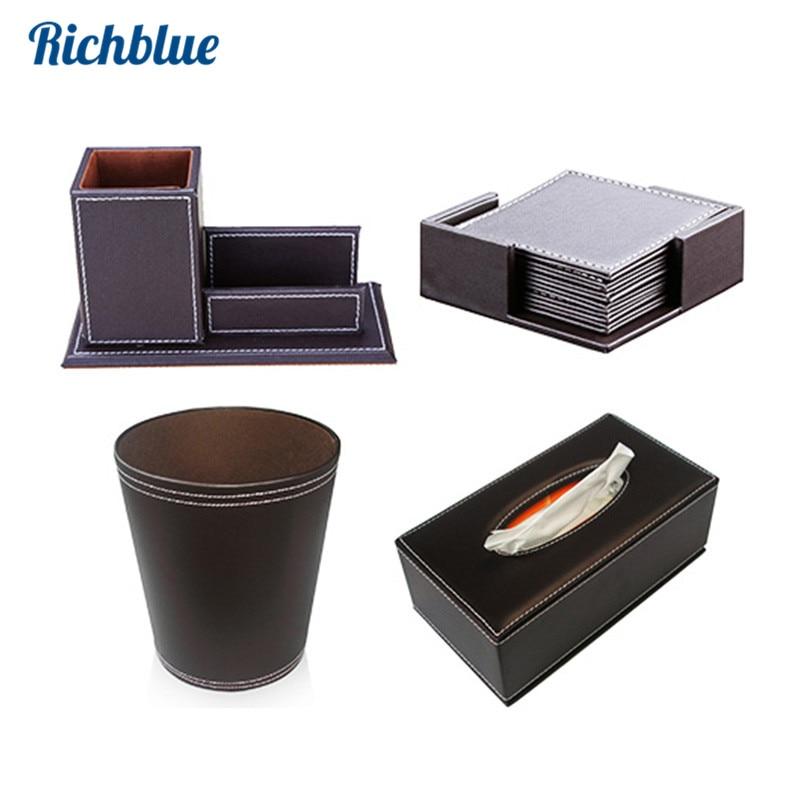 Fournitures de ménage simili cuir polyuréthane résistant organisateur de bureau boîte à mouchoirs poubelles 6 pièces/ensemble tasse Coaster porte-stylo avec porte-cartes
