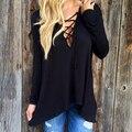 Сексуальная выдалбливают Strappy Передняя Женщины Плюс Размер Зашнуровать Причинные панк Готический Длинным Рукавом Рубашки Женские Blusas Леди Топы Черная Блузка