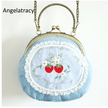 Angelatracy Sweet Strawberry Handbag Fruit Clasp Bags Blue Women Bag Lace Double Side Embroidery Clutch Mini Wallet Phone