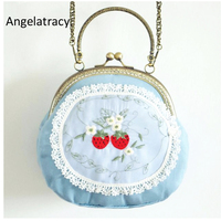 Angelatracy Sweet Strawberry Handbag Fruit Clasp Bags Blue Women Bag Lace Double Side Embroidery Clutch Mini Wallet Phone Bag