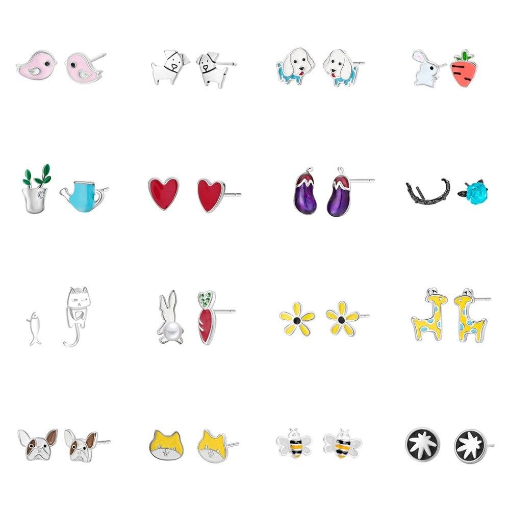 Todorova Multiple Korean Fashion Minimalist Earrings Cute Animal Heart Dog Stud Earrings for Women Jewlery Small Earrings(China)