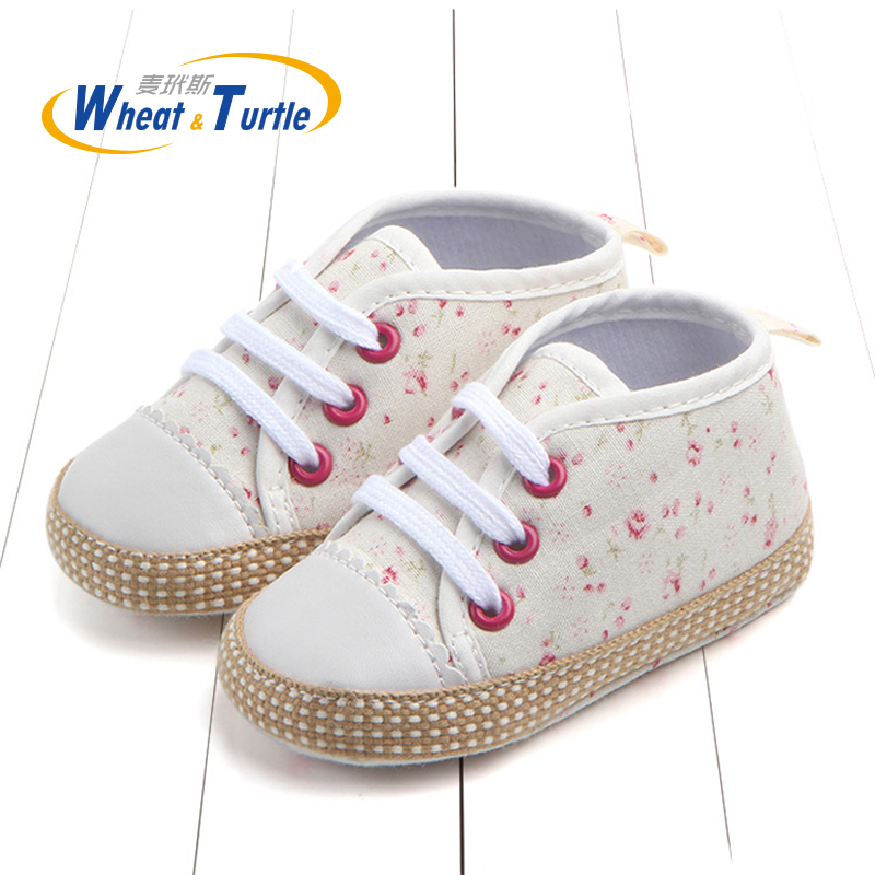 Mother Kids Autumn Spring Floral Lace-Up Unisex Newborn Baby Shoes Wraped Non-Slip Soft Sole First Walkers Toddler Sneaker