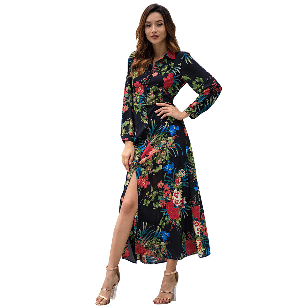 Women's  Sexy Dress 2019 Spring  Long Sleeved Bohemia Printed Long Dress