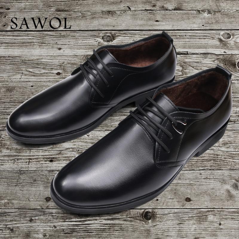 Men Formal Shoes Winter Men Dress Shoes Brand Men Leather Shoes Men Classic Business Gentleman Autumn Plus Big Size 46 47 Sawol цена